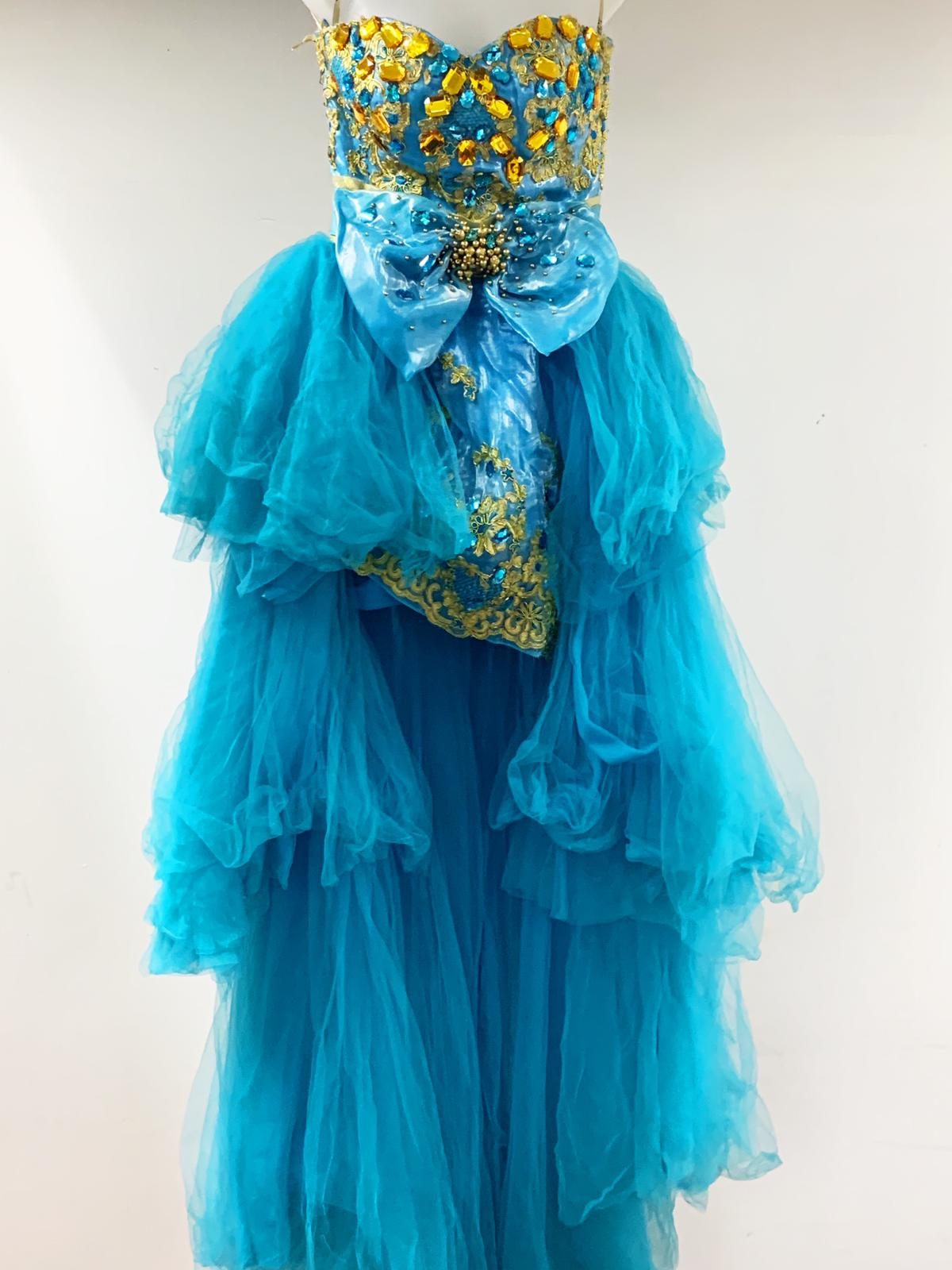 Blue sequin tier off shoulder long dress
