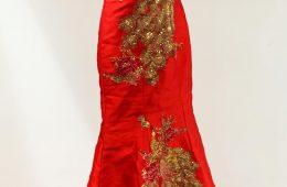 Loop sided peacock flare dress