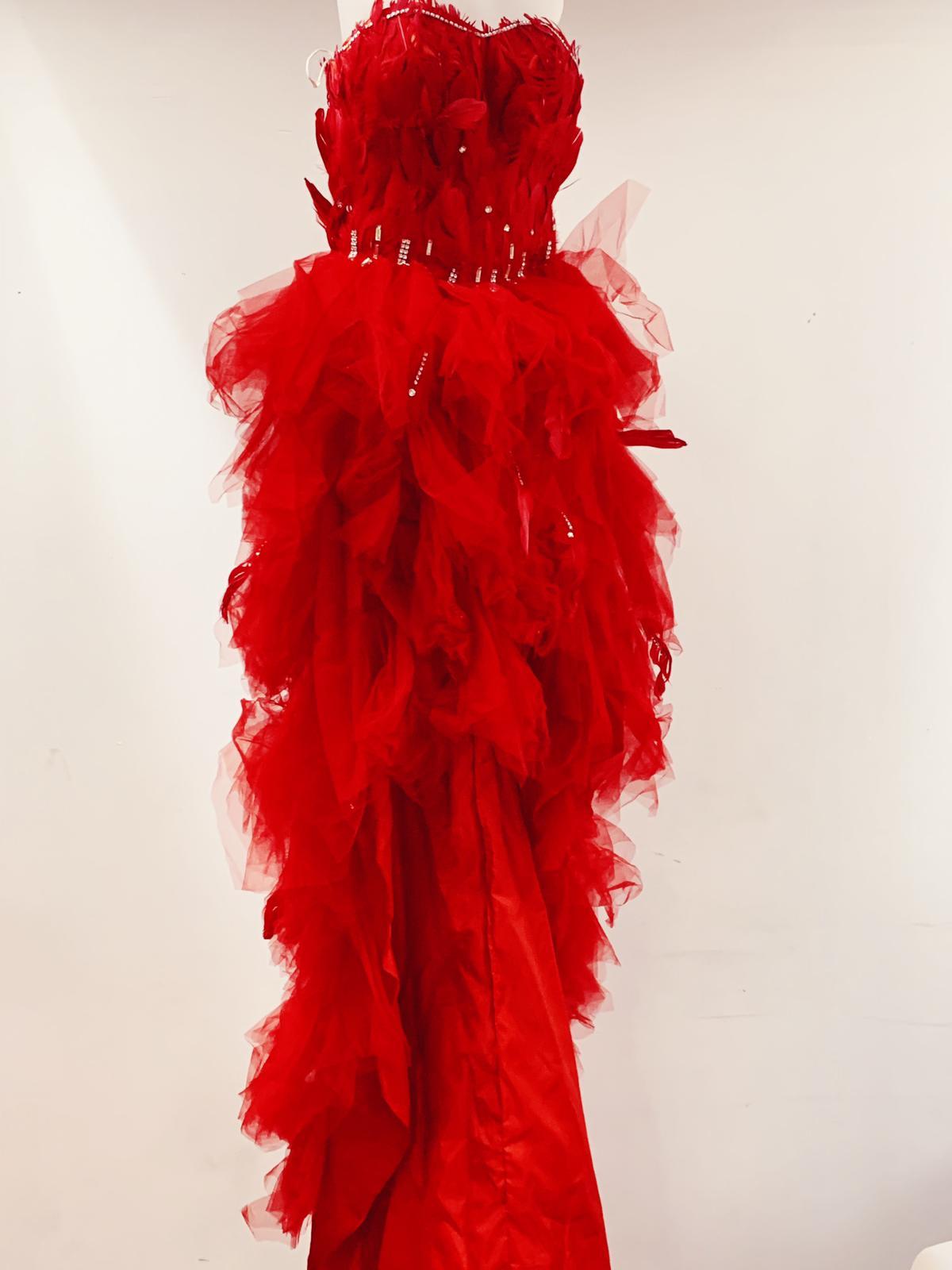 Off shoulder long red elegant dress