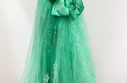 Turqouise green long dress with front bow