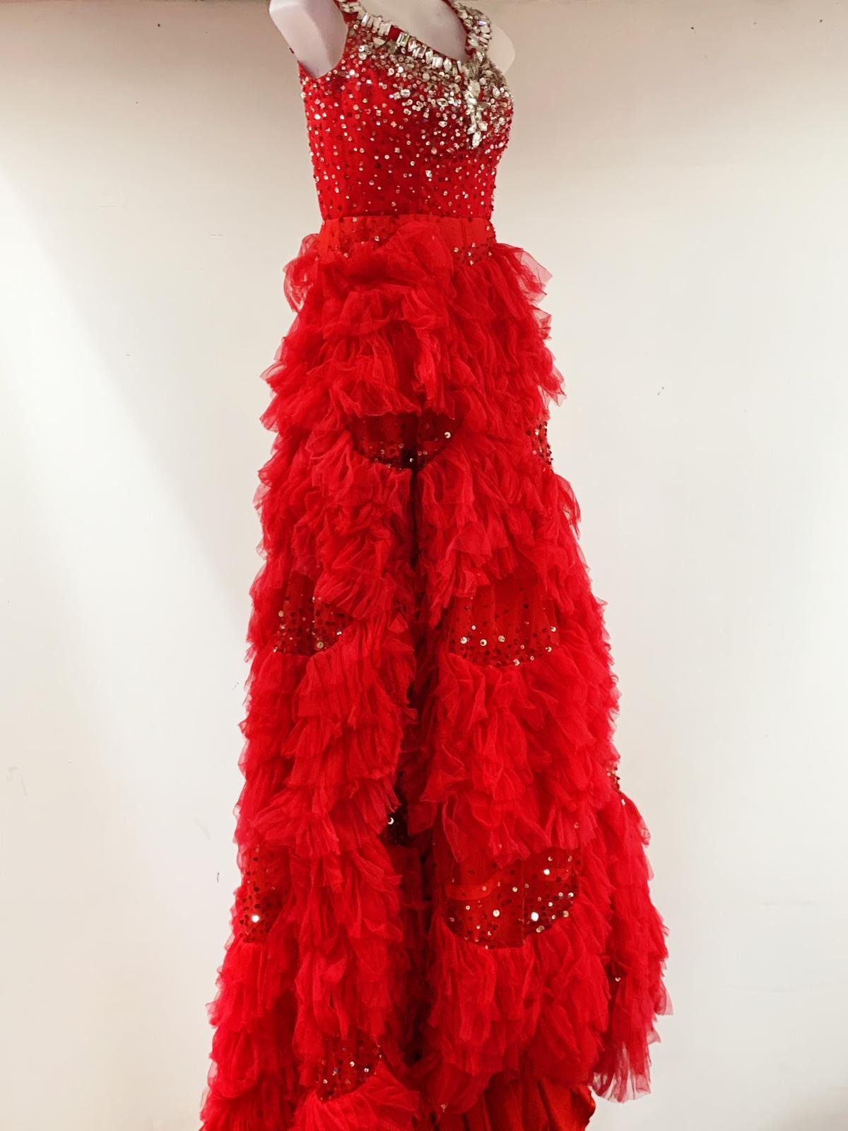 Elegant Sequin Red Dress