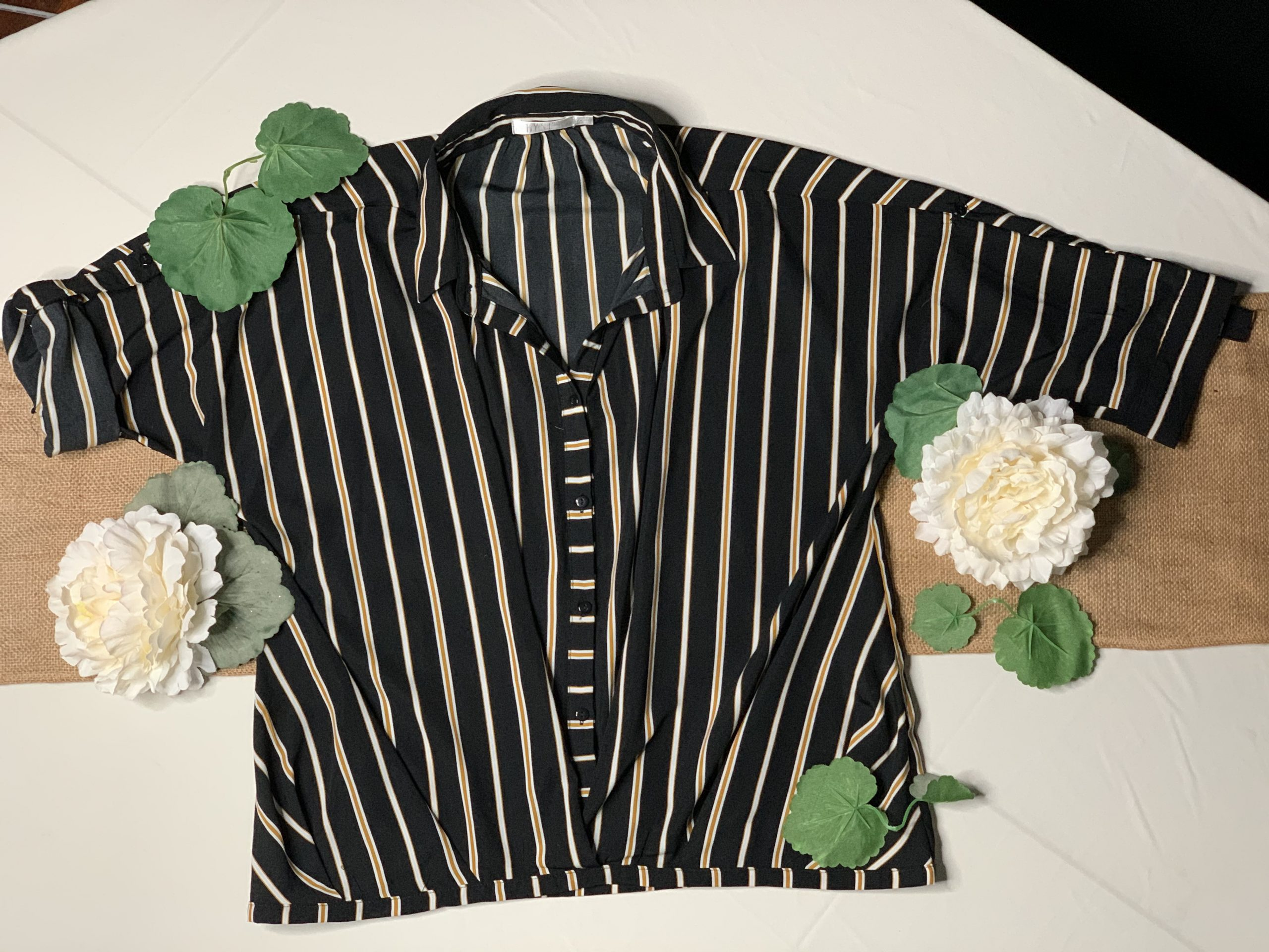 black blouse with stripes
