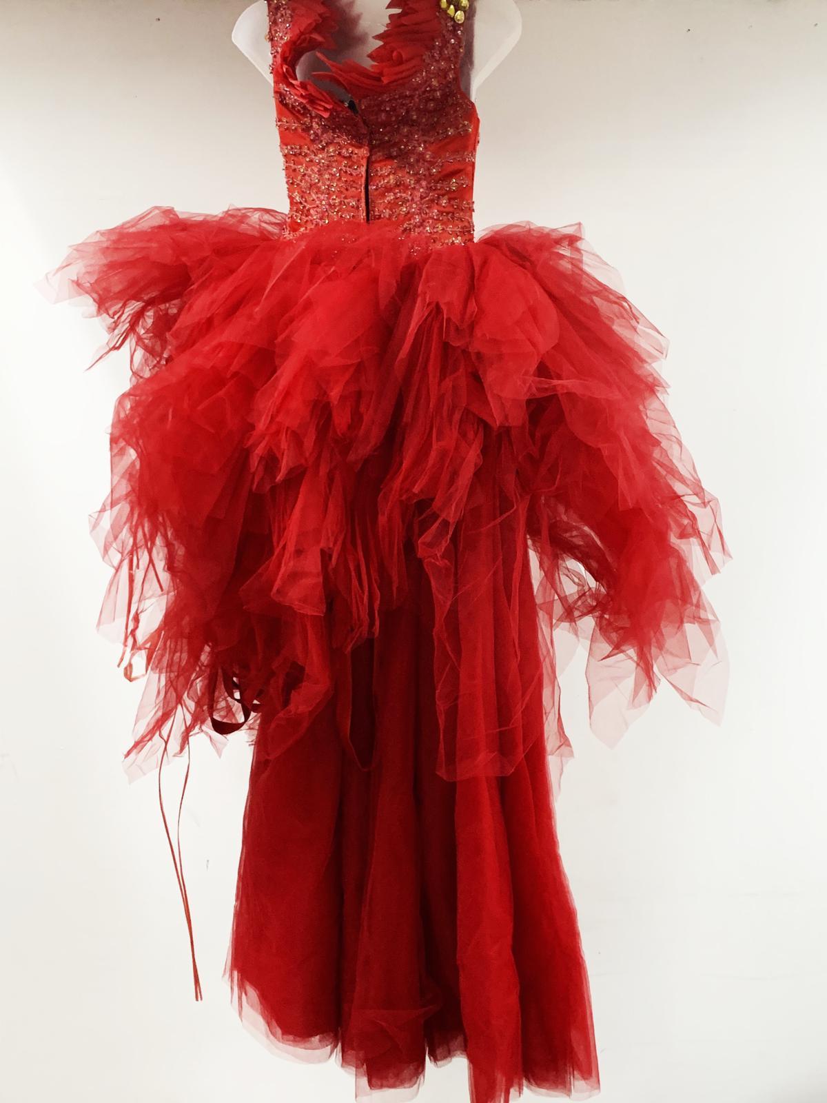 Red fluffy dress
