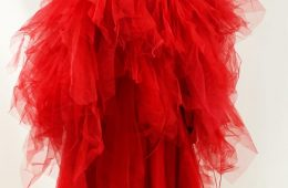 Fluffy red sequin dress