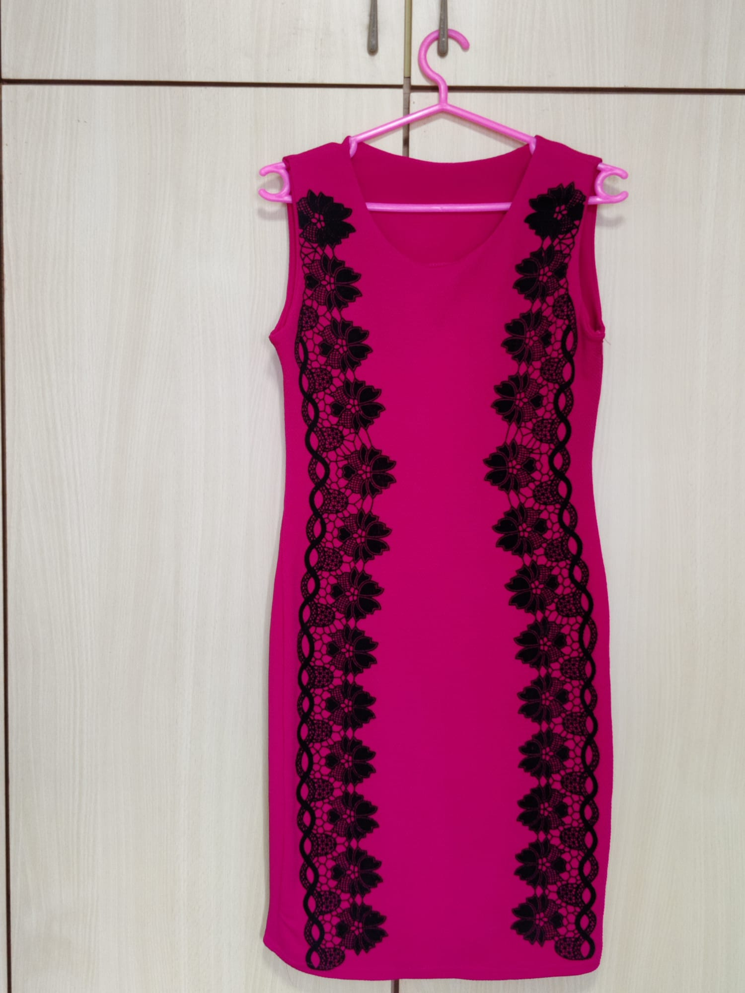 Pink Dress With Floral at the sides